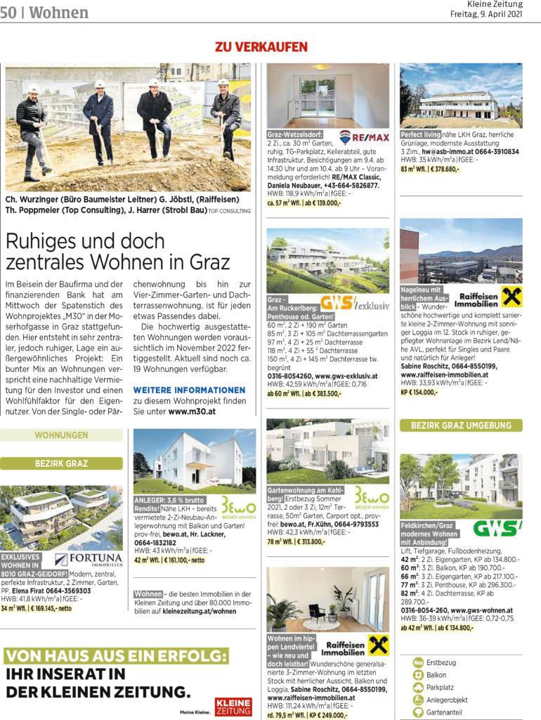 Bericht der Kleinen Zeitung betreffend den Spatenstich in der Moserhofgasse 30.